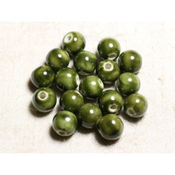 4pc - Perles Céramique Porcelaine Boules 14mm Vert Kaki Olive irisé - 8741140014077