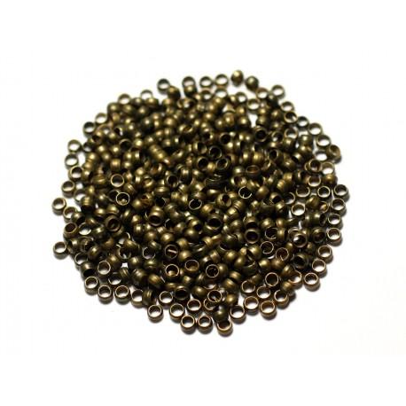 500pc environ - Apprêts Perles à écraser Métal Bronze 3mm - 8741140010710