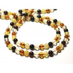4pc - Perles d'Ambre naturelle multicolore Boules 5mm - 8741140014114