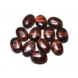 2pc - Perles de Pierre - Oeil de Taureau Ovales 18x13mm avec imperfections - 8741140013896