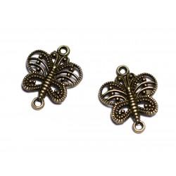 10pc - Apprêts Connecteurs Métal Bronze qualité Papillons filigranes 17mm - 8741140003651