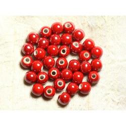 10pc - Perles Porcelaine Céramique Boules 8mm Rouge irisé - 4558550009463