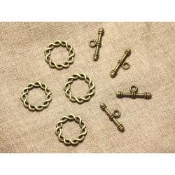 5pc - Fermoirs Toogle T Métal Bronze Torsade Celtique 20mm 4558550000637