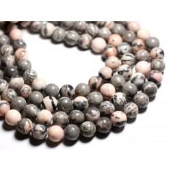 6pc - Perles de Pierre - Jaspe Gris et Rose Boules 12mm - 4558550085528