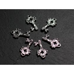 1pc - Breloque Pendentif Argent 925 Clef 17mm - 4558550086617
