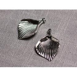 4pc - Connecteurs Pendentifs Boucles d'oreilles Métal Argenté Fleurs Feuilles Aromes 28mm - 4558550095336