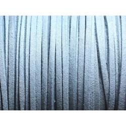 5 mètres - Cordon Lanière Suédine 3mm Bleu Gris - 4558550094513