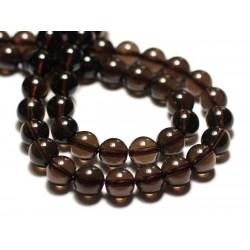 5pc - Perles de Pierre - Quartz Fumé Boules 8mm - 4558550034458