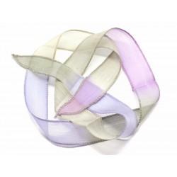 1pc - Collier Ruban Soie teint à la main 85 x 2.5cm Rose Mauve Lavande Jaune Vert (ref SOIE148) 4558550002891