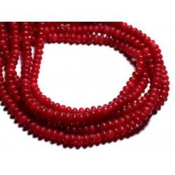 30pc - Perles de Pierre - Jade Rondelles 5x3mm Rouge Cerise Mat - 4558550085634