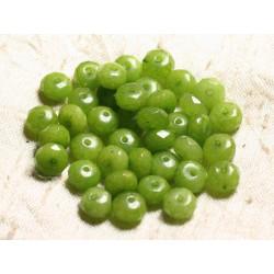 10pc - Perles de Pierre - Jade Rondelles Facettées 8x5mm Vert anis - 4558550009043