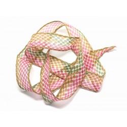 1pc - Collier Ruban Soie teint à la main 85 x 2.5cm Pois Rose Vert Jaune Ocre (ref SOIE155) 4558550002792
