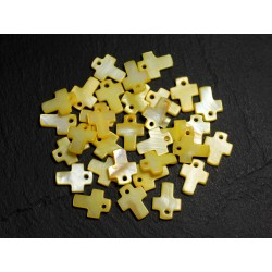 10pc - Perles Pendentifs Breloques Nacre Croix 12mm Jaune clair Pastel - 8741140003439