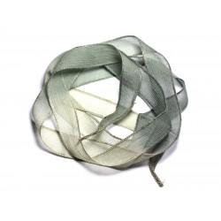 Collier Ruban Soie teint à la main 130x1.8cm Gris Vert Kaki SOIE188 - 8741140003309