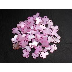10pc - Perles Pendentifs Breloques Nacre Croix 12mm Rose clair Pastel - 8741140003422