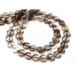10pc - Perles de Pierre - Quartz Fumé Palets 6-7mm - 8741140011892