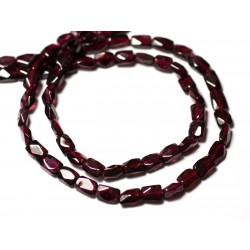 10pc - Perles de Pierre - Grenat Rectangles Cubes Facettés 4-7mm - 8741140011922