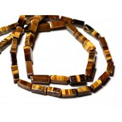 10pc - Perles de Pierre - Oeil de Tigre Rectangles Cubes 6-11mm - 8741140011977