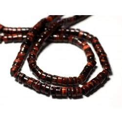 20pc - Perles de Pierre - Oeil de Taureau Tigre Rouge Rondelles Heishi 5-6mm - 8741140012035