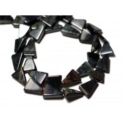 10pc - Perles de Pierre - Oeil de Faucon Tigre Bleu noir Triangles 8-12mm - 8741140012219