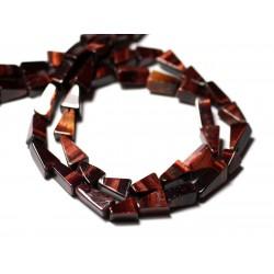 10pc - Perles de Pierre - Oeil de Taureau - Tigre Rouge Triangles 8-10mm - 8741140012226