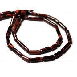 10pc - Perles de Pierre - Oeil de Taureau - Tigre Rouge Tubes 5-14mm - 8741140012295