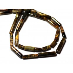 10pc - Perles de Pierre - Oeil de Tigre et Faucon Tubes 5-13mm - 8741140012301