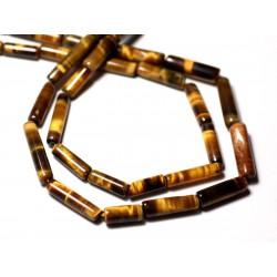 10pc - Perles de Pierre - Oeil de Tigre Tubes 10-16mm - 8741140012318