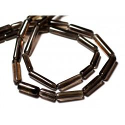 10pc - Perles de Pierre - Quartz Fumé Tubes 9-18mm - 8741140012332