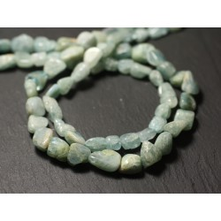 10pc - Perles de Pierre - Aigue Marine Olives 8-14mm - 8741140011571