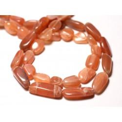 10pc - Perles de Pierre - Pierre de Lune Soleil Rose Olives 8-14mm - 8741140011687