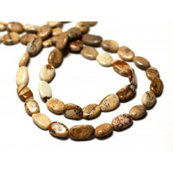10pc - Perles de Pierre - Jaspe Paysage Beige Olives Ovales 6-11mm - 8741140011779