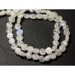 10pc - Perles de Pierre - Pierre de Lune blanche arc en ciel Palets 5-6mm - 8741140011885