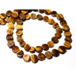 10pc - Perles de Pierre - Oeil de Tigre Palets 6-7mm - 8741140011878