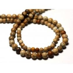 20pc - Perles de Pierre - Jaspe Paysage Beige Boules 3-4mm - 8741140011472