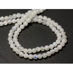 20pc - Perles de Pierre - Pierre de Lune blanche arc en ciel Boules 3-4mm - 8741140011519
