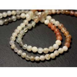 20pc - Perles de Pierre - Pierre de Lune multicolore Boules 5mm - 8741140011526
