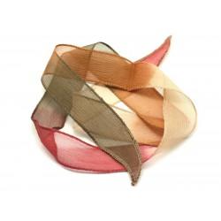 1pc - Collier Ruban Soie teint à la main 85 x 2.5cm Ivoire, Ocre, Kaki, Rose Framboise, Prune (ref Soie176)