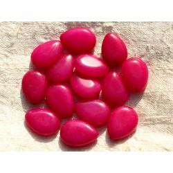 4pc - Perles de Pierre - Jade Rose Fuchsia Gouttes 18x13mm 4558550015181