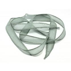 1pc - Collier Ruban Soie teint à la main 88 x 1.5cm Gris (ref SOIE105) 4558550003409