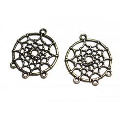 6pc - Apprêts Connecteurs Métal Bronze qualité Dreamcatcher Attrape rêves 34mm - 8741140003682