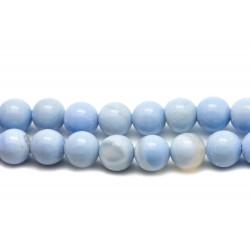 10pc - Perles de Pierre - Agate Bleu Clair Boules 8mm - 4558550019899