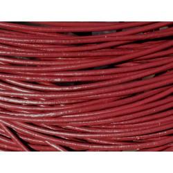 Echeveau 90 mètres - Fil Cordon Cuir Véritable 2mm Rouge Bordeaux - 8741140011250