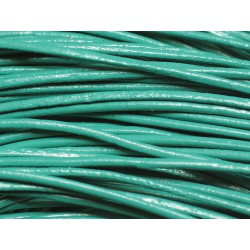 Echeveau 90 mètres - Fil Cordon Cuir Véritable 2mm Vert Paon Turquoise - 8741140011281