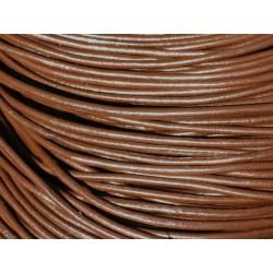 Echeveau 90 mètres - Fil Cordon Cuir Véritable 2mm Marron Chocolat - 8741140011298
