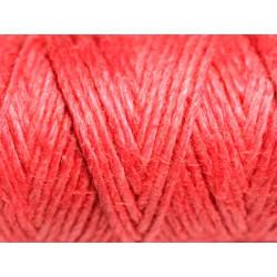 Bobine 20 mètres - Cordon Ficelle Chanvre 1.5mm Rose Rouge Corail - 8741140011090