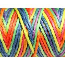 Bobine 20 mètres - Cordon Ficelle Chanvre 1.5mm Multicolore Jaune Orange Bleu Vert Violet - 8741140011144