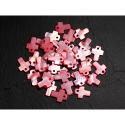 10pc - Perles Pendentifs Breloques Nacre Croix 12mm Rouge Rose Corail - 8741140003408