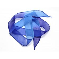 1pc - Collier Ruban Soie teint à la main 85 x 2.5cm Bleu Nuit Céruléen (ref SOIE130) 4558550003133