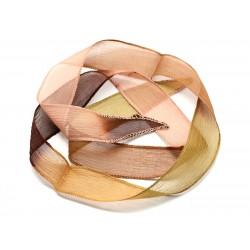 1pc - Collier Ruban Soie teint à la main 85 x 2.5cm Marron Jaune Vert Rose (ref SOIE159) 4558550002808
